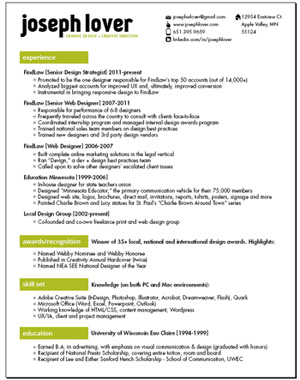resume to print on paper